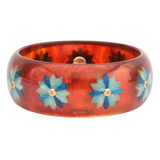 Tortoise & Blue Flower Inlay Bakelite Bangle with Citrine