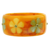 Orange & Multicolor Flower Inlay Bakelite Bangle with Peridot