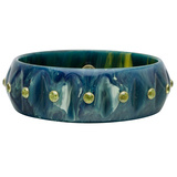Marbled Blue Bakelite Bangle with Peridot