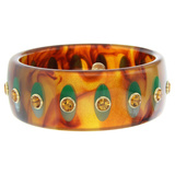 Tortoise & Green Inlay Bakelite Bangle with Citrine