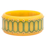 "Yellow & Blue Inlay ""Prunella"" Bakelite Bangle with Citrine"