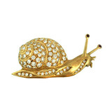 18k Gold & Diamond Snail Pin