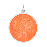 Medium Silver St Christopher Medal with Coral Enamel