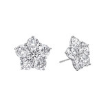 Medium Diamond Flower Cluster Earstuds (~3 ct tw)