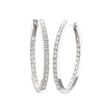 Diamond Oval Hoop Earrings (~2 ct tw)