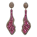 Michael Tracy Rubellite, Rhodolite Garnet & Diamond Dangle Earrings