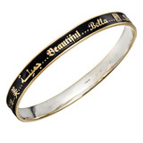 """Beautiful"" Black Enamel, 18k Gold & Silver Bangle"