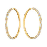 Large 18k Yellow Gold & Diamond Hoop Earrings