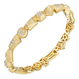 """Jackson"" Etched 18k Gold & Diamond Bangle"