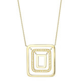 18k Gold & Diamond Swing Pendant Necklace