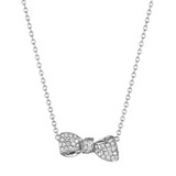 Small Pav Diamond Bow Pendant Necklace