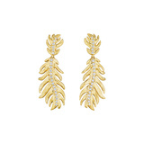 18k Gold & Diamond Feather Drop Earrings