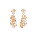 18k Rose Gold & Diamond Feather Drop Earrings