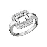 "18k White Gold & Pavé Diamond ""Piece"" Ring"