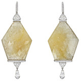 Yellow Sapphire Slice & Diamond Drop Earrings