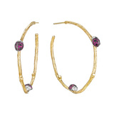 ​18k Gold & Gem-Set Ladybug Hoop Earrings
