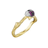 18k Gold & Gem-Set Ladybug Band Ring