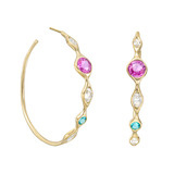 Mixed-Cut Gem-Set Hoop Earrings