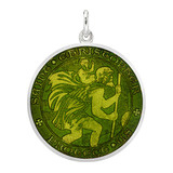 Large Silver St Christopher Medal with Moss Green Enamel