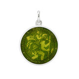​Small Silver St Christopher Medal with Moss Green Enamel