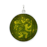 ​Medium St. Christopher Medal with Moss Green Enamel