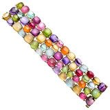 Multicolored Cabochon Gemstone Wide Bracelet