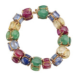 Multicolored Gemstone Rondelle Bead Bangle