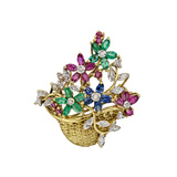 Multicolored Gemstone Flower Basket Pin