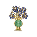 ​Multicolored Gemstone Flowerpot Pin