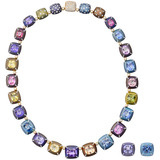 Multicolored Sapphire &amp; Diamond Necklace &amp; Earrings
