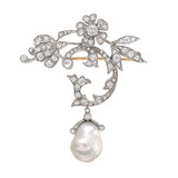 Natural Pearl & Diamond Brooch