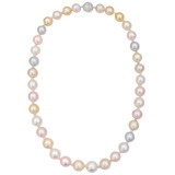Multicolored South Sea Pearl Necklace with Diamond Clasp