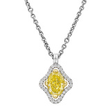 Navette-Shaped Yellow & White Diamond Pendant