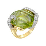 Carved Peridot & Diamond Cocktail Ring