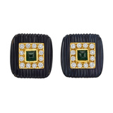 Onyx, Diamond & Emerald Square Earclips