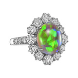 Opal & Diamond Cluster Ring