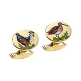 ​18k Gold & Painted Game Bird Cufflinks