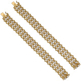 ​Pair of 18k Yellow Gold & Diamond Lattice Bracelets