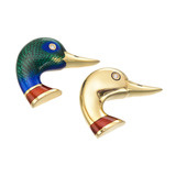 Pair of 18k Gold & Enamel Duck Head Pins