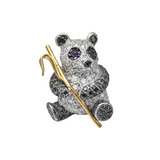 Black & White Diamond Panda Brooch
