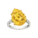 """11 O'Clock"" Pear-Shaped Golden Citrine Ring"
