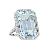 Emerald-Cut Aquamarine &amp; Diamond Cocktail Ring