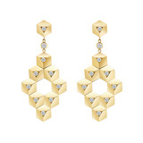 "Large 18k Gold & Diamond ""Brillante"" Drop Earrings"