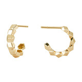 "Mini 18k Yellow Gold ""Brillante"" Hoop Earrings"
