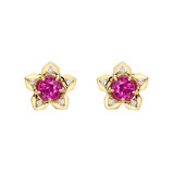 """Brillante"" Ruby & Diamond Stud Earrings"