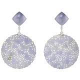 Lavender Jade &amp; Diamond Earring Pendants