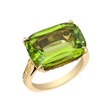 Peridot &amp; Yellow Diamond Ring