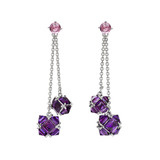 Amethyst &amp; Pink Sapphire Double Chain Drop Earrings