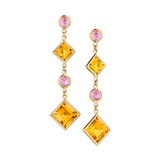 """Florentine"" Citrine & Pink Sapphire Drop Earrings"