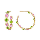 &quot;Florentine&quot; Peridot &amp; Pink Sapphire Hoop Earrings